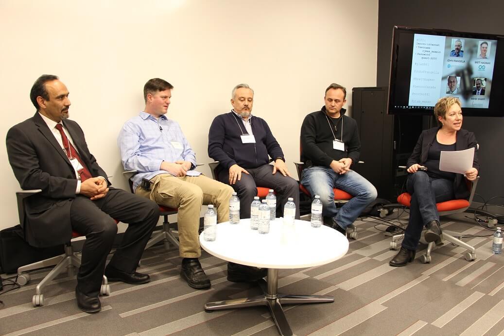Panelists Mehdi, Brett, John and Peter, and moderator Karen