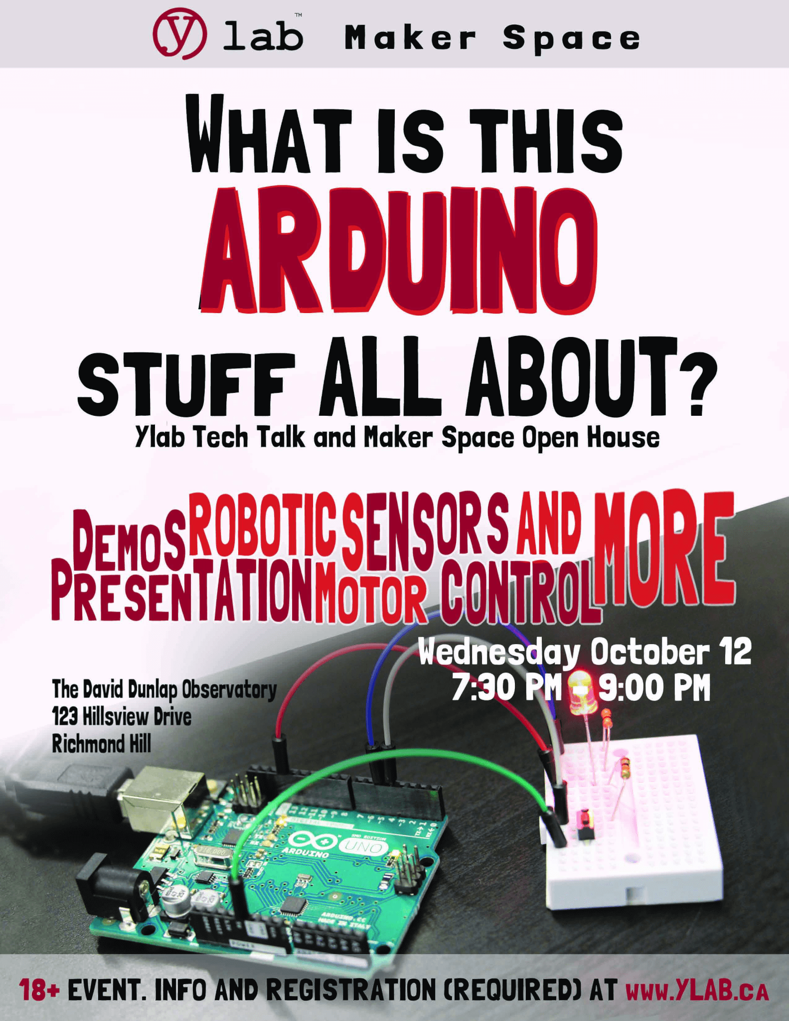 Arduino night. Big thanks to Chhing Chan for the poster.